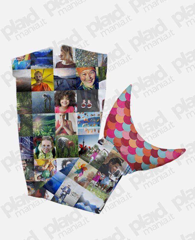 Plaid coda di Sirena piccolo 120 cm personalizzato con foto collage