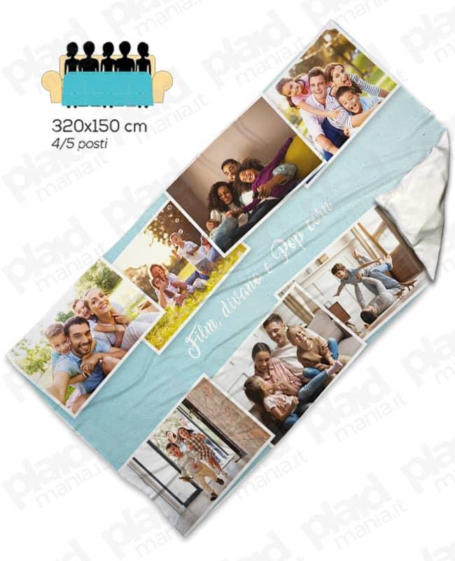 Plaid da divano - Coperta in pile 320x150 cm personalizzata con foto per 5 posti