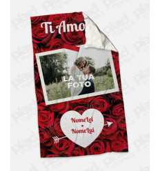 Plaid - Coperta in pile personalizzata con foto - Rose Love