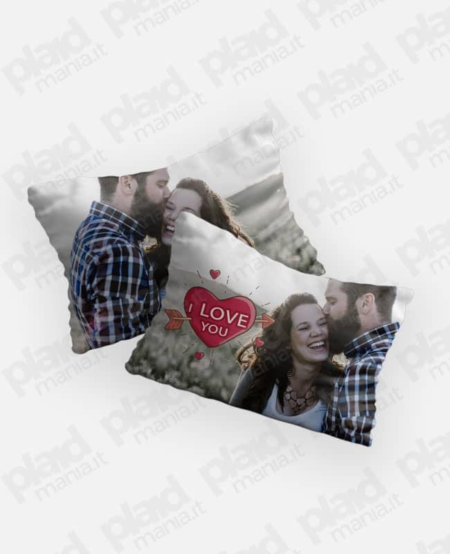 Federe cuscino coppia 80x50 personalizzate con foto - I Love You