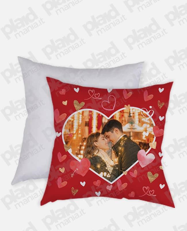 Cuscino forma Quadrata personalizzato San Valentino - Red Love