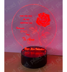 Lampada da tavolo Rosa 3D a led personalizzata con nome