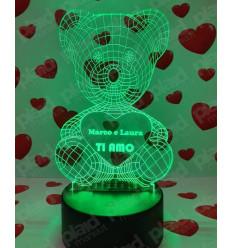 Lampada da tavolo 3D a led personalizzata con nome - Orso