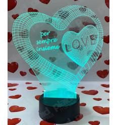 Lampada da tavolo 3D a led personalizzata con nome - Cuore