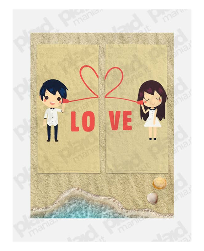 Coppia di Teli Mare Personalizzati con Nome Per Lei e Per Lui – Cute Love - 90X160 cm