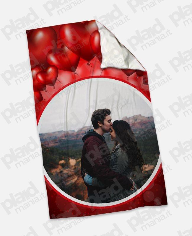 Plaid - Coperta in pile 100x180 Love personalizzata con una foto - Palloncini Cuore
