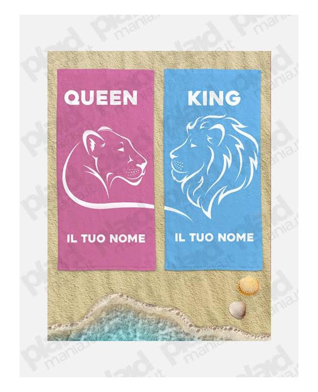 Coppia di Teli Mare Personalizzati con Nome Per Lei e Per Lui – Lion King And Lioness Queen - 90X160 cm