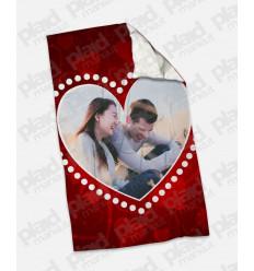 Plaid - Coperta in pile 100x180 Love personalizzata con una foto - Cuore Pois