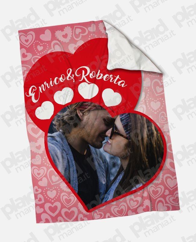 Plaid - Coperta in pile 130x180 Love personalizzata con una foto - 4 di cuori