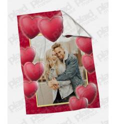 Plaid - Coperta in pile 130x180 Love personalizzata con una foto - Cornice Cuore