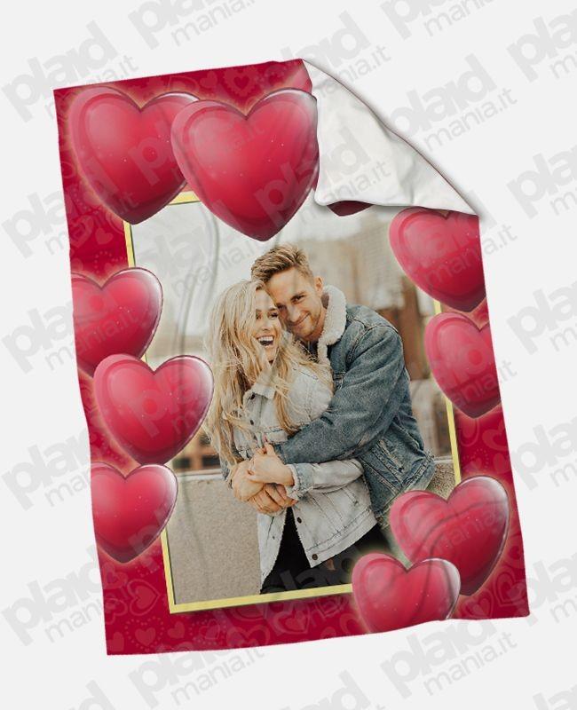 Pile Con Foto Personalizzata.Plaid Coperta In Pile 130x180 Love Personalizzata Con Una Foto Cornice Cuore Plaid Mania