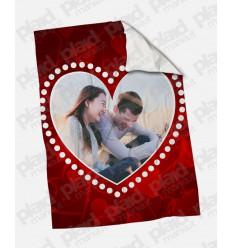 Plaid - Coperta in pile 130x180 Love personalizzata con una foto - Cuore Pois