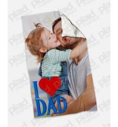 Plaid - Coperta in pile 100x180 Papà personalizzata con una foto - I Love Dad