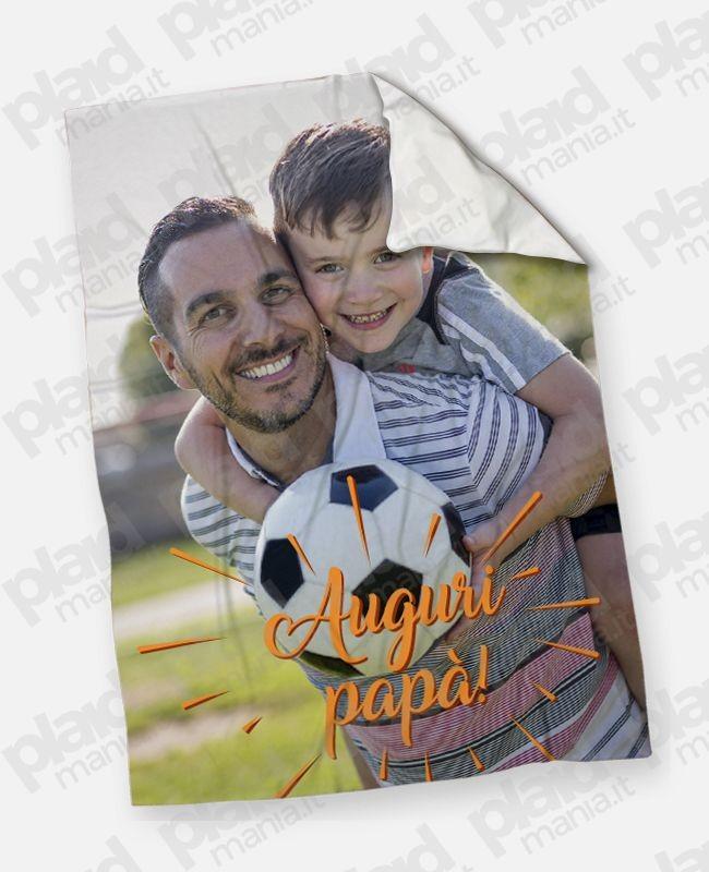 Plaid - Coperta in pile 130x180 Papà personalizzata con una foto - Auguri papà