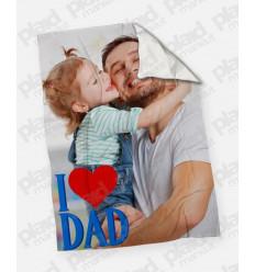 Plaid - Coperta in pile 200X180 Papà personalizzata con una foto - I Love Dad