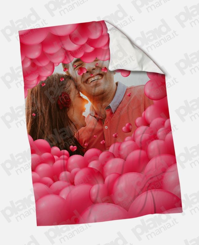 Plaid - Coperta in pile 100x180 Love personalizzata con una foto - Nuvole di Cuori