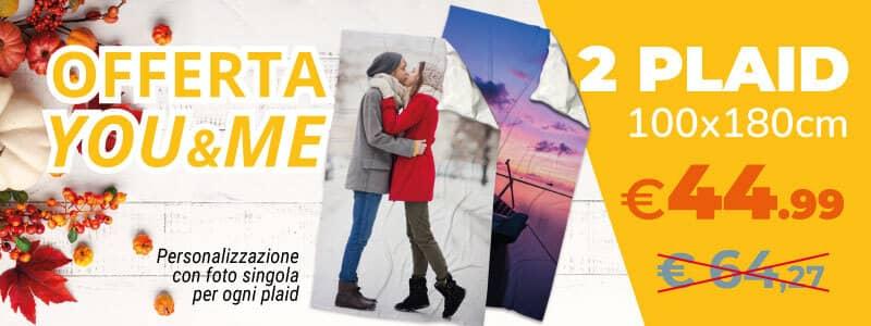 Offerta You&Me - 2 plaid 100x180 personalizzati con una foto